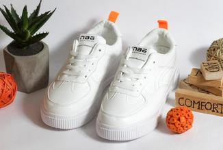 """0339 Кроссовки """"IDEAL"""" белые с оранжевым задником  40 р. - стелька 24,5 см"""