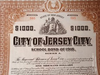 City of Jersey Сity. 1000$. Оригинал. 1918 год.