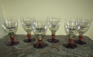 Мадерная рюмка цветное стекло Богемия 6 шт.