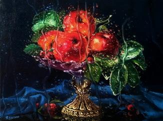 """""""Ваза с яблоками"""" масло, холст 30х40см"""