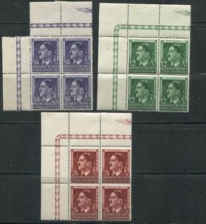 1944 Рейх 55 лет Гитлеру  полная серия MNH квартблоки