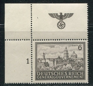 1943  Рейх Замок Львов MNH угловая с полем