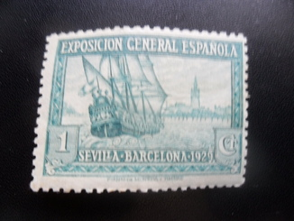 Корабли. Испания. Барселона. 1929 г. Выставка марка  MH