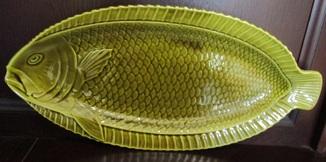 Огромное блюдо для подачи рыбы Майолика Sarreguemines French faïence  Majolica Франция