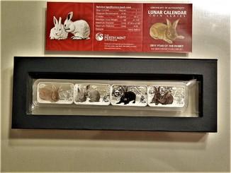 """Набор из 4 цветных монет """"Год Кролика"""" - серебро, 2011, коробка, сертификат"""