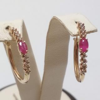 Золотые серьги-кольца с натуральными рубинами и бриллиантами