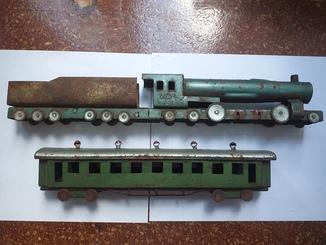 Артельный паровоз и вагон. Пр-во 1950 год.