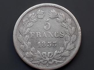 5 франков, Франция, 1833 год, W, серебро 900-й пробы 25 грамм