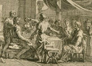Старинная гравюра. Франция. Свадьба Самсона. Бумага Верже