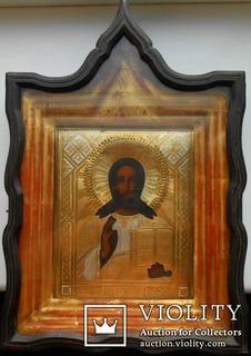 Икона Спас.  Оклад латунь позолота серебрение