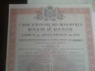 """Облигация """"Caisse autonome des monopoles Royaume de Roumanie 1931 № 301262"""