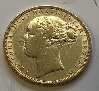 1 соверен 1871 год Англия золото 7,99 грамм 917'