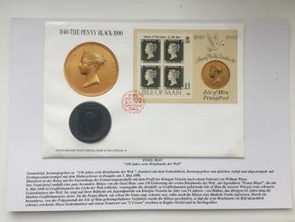 Монета Elizabeth II ,,Isle of Man'' 1 Crown 1990,. конверт з відповідними марками.