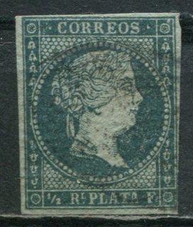 1855 Куба Испанская Вест-Индия королева Изабелла II 1/2R