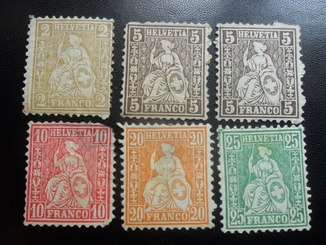 Классика. Швейцария. 1860-1880 гг.  6 марок МН