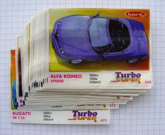 "Коллекция вкладышей ""Turbo Super"" №471-539 (61 штука)"