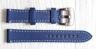 Ремешок для часов BROS (ИТАЛИЯ) из натуральной кожи. Синий 20 мм