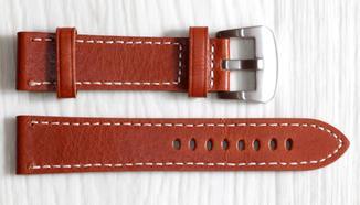 Ремешок для часов BROS (ИТАЛИЯ) из натуральной кожи. Желто коричневый 22 мм