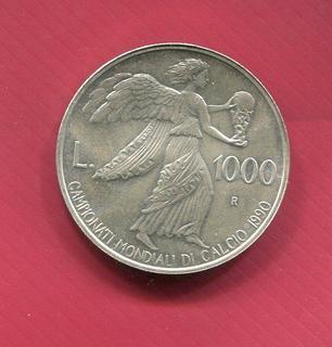 Сан Марино 1000 лир 1990 UNC серебро Футбол