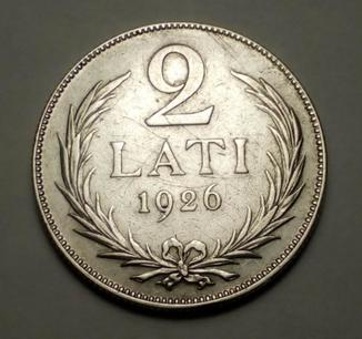 2 лата 1926 Латвия Серебро