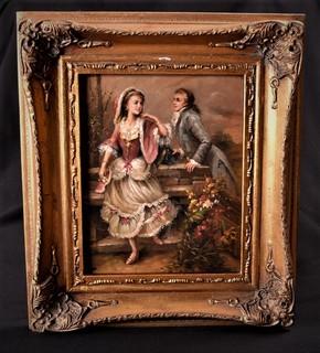 "Картина "" Свидание"" Масло, дерево. Подпись автора. Европа"