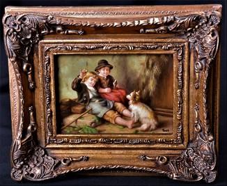 """Картина."""" Дети с собакой"""" Масло, дерево. Подпись. Европа"""