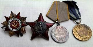 Орден ОВ 1ст. + КЗ + медаль за БЗ + польская Одер... + документы, Аскалонов С.П.