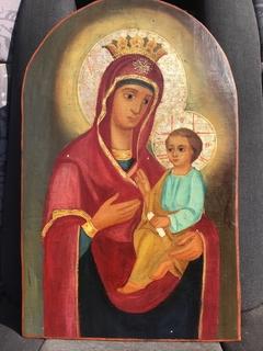 Икона Образ Богородицы . 46.5 см*29.5 . Золото. Живопись масло. Академка.