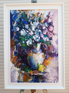 ..білі рози.. 60х40 полотно. олія 2019 рік