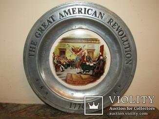 """Настенное панно тарелка """"Декларация независимости"""" American Revolution клейма Америка"""