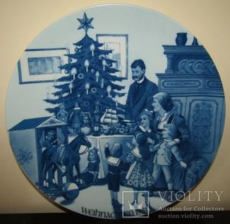 Большая Новогодняя тарелка фарфор кобальт Jacobs Weihnachtsteller Wandteller 1981