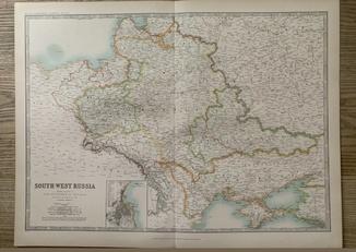 1912 год Карта России Украина Одесса Молдова.
