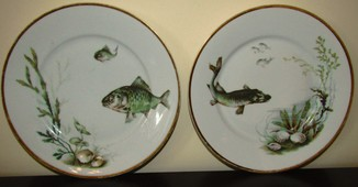 Антикварные блюда фарфор тестовое клеймо Рыбки Германия