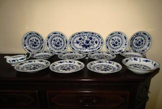 Сервиз тарелки блюда салатник соусник синий лук Zwiebelmuster клеймо Германия