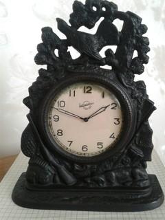 Часы Охота Куса 1956г. Настольные каминные чугун