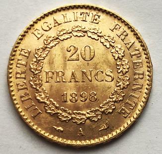 20 франков 1898 года. UNC