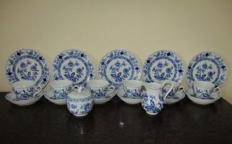 Сервиз тарелки чашки блюдца сахарница молочник синий лук Zwiebelmuster клеймо Германия