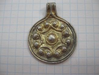 Монетовидная подвеска календарь КР серебро  позолота