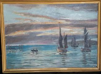 """Картина """"Лодки""""/Подпись автора"""