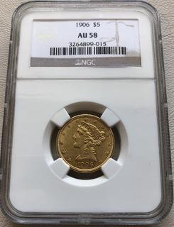 5 $ 1906 год США золото 8,35 грамм 900'