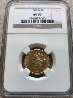 5 $ 1887-S год США золото 8,35 грамм 900'