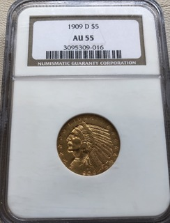 5 $ 1909-D год США золото 8,35 грамм 900'