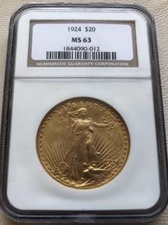 20 $ 1924 год США золото 33,4 грамма 900'