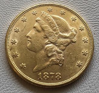 20 $ 1878 год США золото 33,4 грамма 900'
