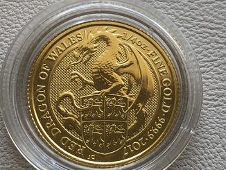 25 фунтов 2017 год Англия «Дракон» золото 7,78 грамм 999,9'