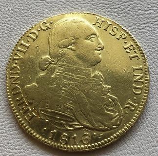 8 эскудо 1816 год Колумбия 26,94 грамма 875'