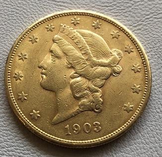 20 $ 1903 год США золото 33,4 грамма 900'