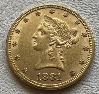 10 $ 1881 год США золото 16,7 грамма 900'