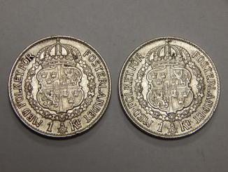 2 монеты по 1 кроне, Швеция, 1942 г