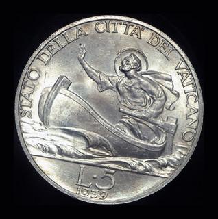 Ватикан 5 лир 1939 Unc серебро